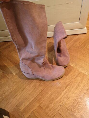 Roze cizme prevrnuta koza, jako lepo stoje. Br 40, pogledajte ostale