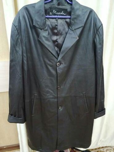 удлиненную кофту в Кыргызстан: Мужская удлиненная кожанная куртка.Темно-коричневаяразмер
