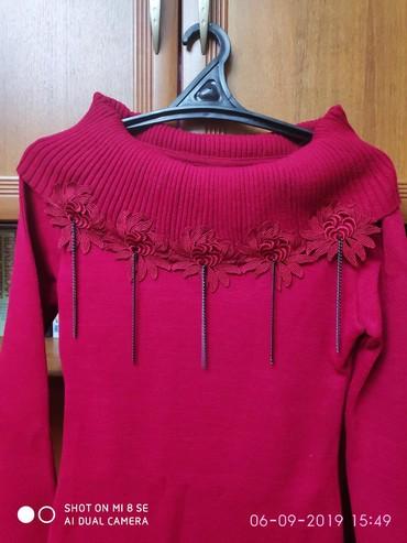 длинные платья из турции в Кыргызстан: Платье машинной очень плотной вязки. Длина ниже колена. Цвет сухая