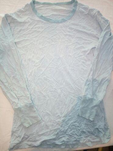 M - L размер, футболка светло голубого цвета, с длинным рукавом