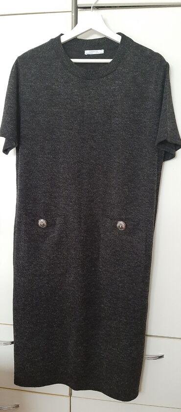 Zara haljina, potpuno nova, trikotaža, L veličina, tamno siva