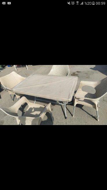 açılıb yığılan oturacaqlar kreslolar - Azərbaycan: Masa və oturacaq dest 120×80 masa, Oturacaq kreslo plastik, ayağı