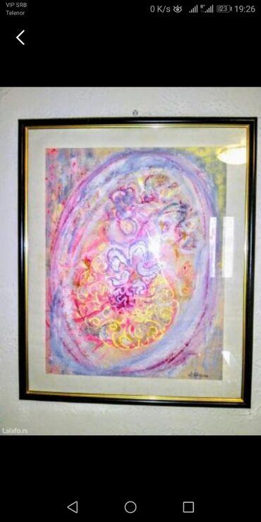 """Slika """"Vodeni cvet"""", slikar Dušanka Trkulja. Kombinovana tehnika"""