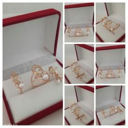 Золотой комплект из красного золота 585 проба. с жемчугом и цирконами. в Бишкек