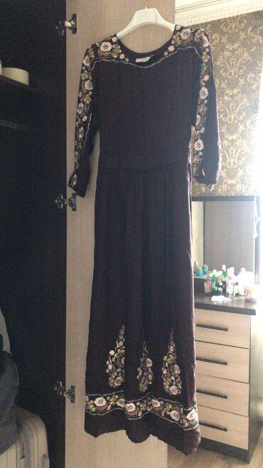 Платье шоколадного цвета с вышивками хлопок Турция размер 46,48