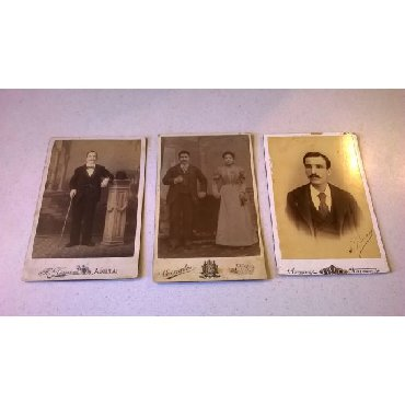 3 Χοντροχάρτονες Φωτογραφίες.Διαστάσεις από αριστερά: 16,5 x 11