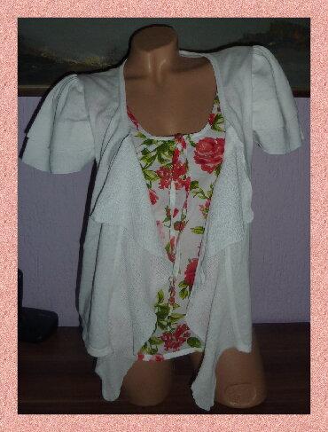Beli-kardigan - Srbija: PAPAYA Beli Kardigan Majica Cvetni DezenSirina ramena 36cmširina ispod