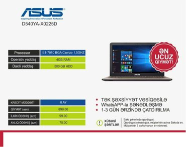 Bakı şəhərində Texniki Gostericileri - 4GB Ram  500GB HDD YaddasKredit Muddeti - 8