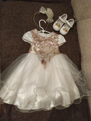 платье для мамы и дочки на годик в Кыргызстан: Платье на годик нарядное в комплекте с ободком и туфлями 21 размер. Т