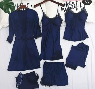 синий subaru в Ак-Джол: Очень красивый комплект Комплект из 5 ти вещей  Халат, штаны,пиньюар,ш