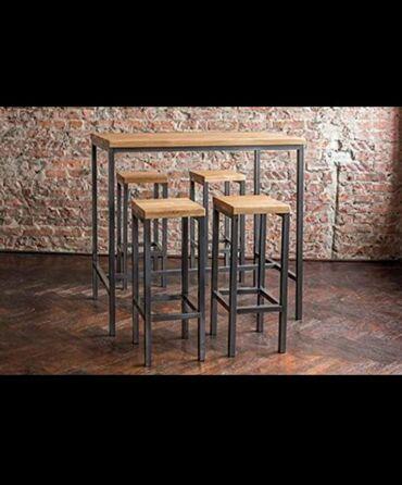 Nameštaj - Borca: Barski sto sa stolicama industriskom stilu koje karakterišu visoko