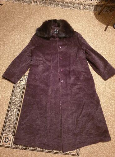 Пальто из альпаки со съёмным воротником из песца. Размер 54-56 XXXL
