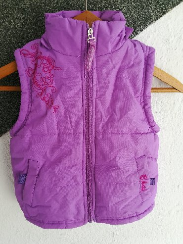 Dečije jakne i kaputi | Vranje: Prsluk ljubičasti postavljen vel 6, obim grudi 66 cm, dužina 41 cm