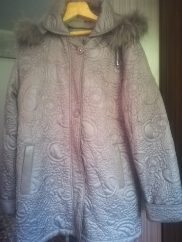 Куртка теплая цвет сиреневый новая размер 56 с капюшоном в Бишкек