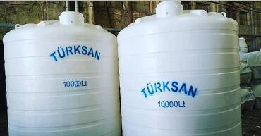 Türksan şirkətinin polietilendən hazırlanmış su çəni. Dik formalı
