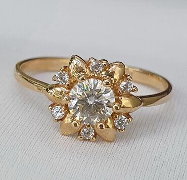 Кольцо из красного золота, 585 проба. Вставка бриллиант. Размер 18
