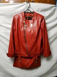 Женский костюм из турции - Кыргызстан: Женский костюм. Юбка и куртка из кожзам. Цвет красный. Размер 54-56