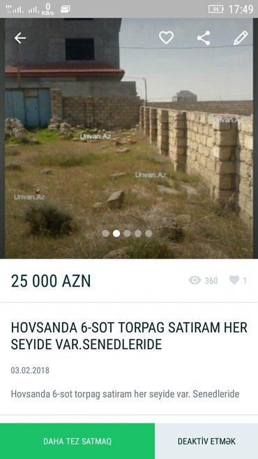 Bakı şəhərində TECİLİ SATİLR 6 SOT HOVSANDA -24-500 AZN