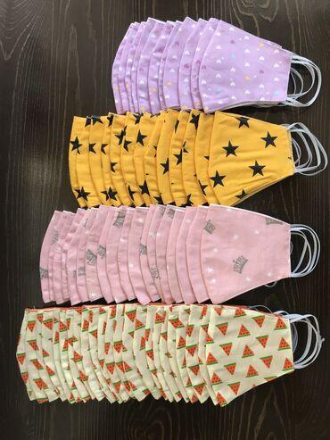 Ткань спанбонд для масок купить - Кыргызстан: Детские маски оптом хб2 слойные с защитной тканьюДетские маски