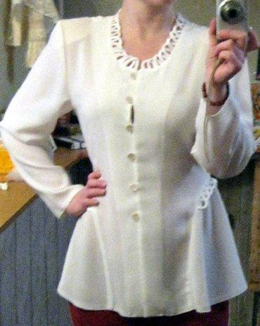 Белая блузка с длинным рукавом. НОВАЯ. Размер 42, подойдет и на 44