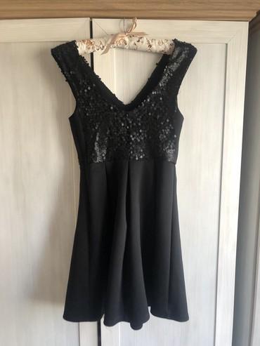 SNIZENA,Jednom samo obucena, ATMOSPHERE crna haljina, BAS KAO NOVA, S - Pancevo