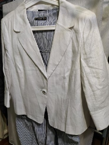 Личные вещи - Бишкек: Пиджак,из льна новый,белый.размер 48