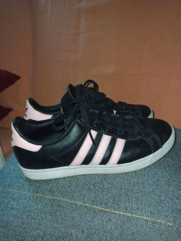 Προσωπικά αντικείμενα - Ελλαδα: Adidas Originals court sneakers Black with pink stripes.Εφέ δέρματος