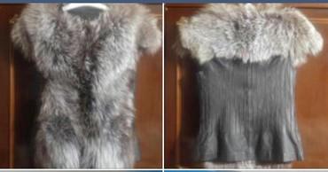 жилет лиса в Кыргызстан: Жилет женский, мех лиса ч/б+кожа. новый. размер S