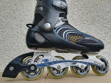 Sport i hobi - Obrenovac: Roleri hy skate xf br 44, gaziste 28cm, aluminijska sina, tockici