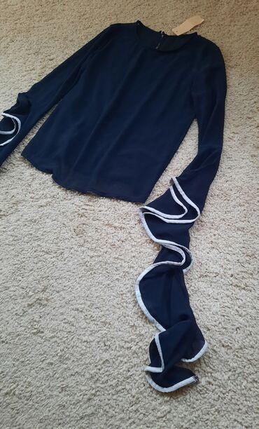 Bluza sa rukav - Srbija: Nova bluza sa etiketom. Teget indigo plava boja. Materijal