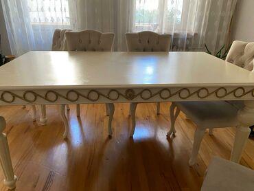 yemək masası - Azərbaycan: Yemək masası 6-lı stulları ilə birlikdə. Masanın üzəri dəridir
