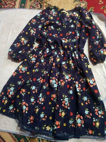 Платье с ремешком по колено,в отличном состоянии, 46 размер 200 сом
