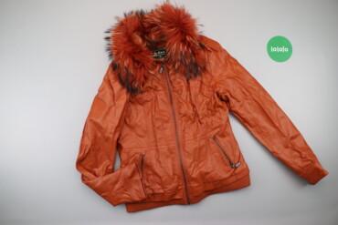 Жіноча шкіряна куртка з хутром на капюшоні O&S, p. M    Довжина: 6