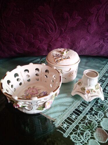 Kuhinjski setovi - Kraljevo: Porcelanski set nov. stari porcelan. Korpa vis. 5,5