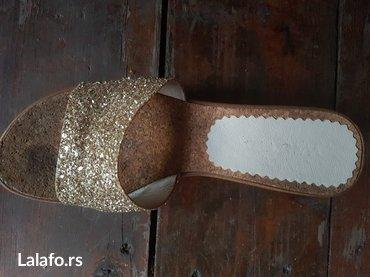 Ženska obuća | Arandjelovac: Papuce od plute sa zlatnim strasom vel 39