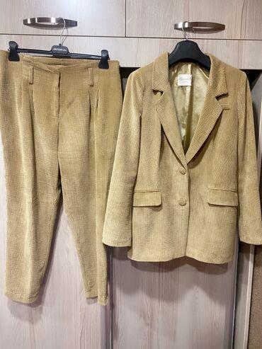 Костюм вельветовый (Турция) штанишки на высокой посадке . пиджак удли