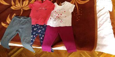 Majice(kratkih rukava) i helanke za devojcice, velicina 80-86