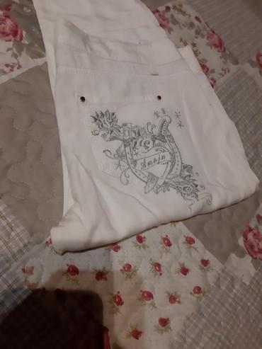 Viskoza-elast - Srbija: Bele pantalone farmerke viskoza pamuk vel 29