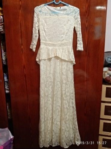 кружевное платье большого размера в Кыргызстан: Красивое кружевное платье в пол с баской. было одето 1 раз на вечер. в