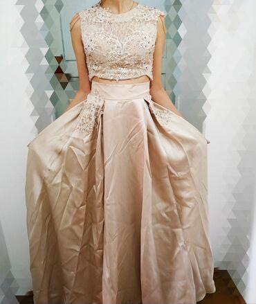 бежевое платье в пол в Кыргызстан: Шикарное очень нежное и милое вечернее платье длинное в пол