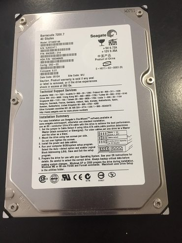 seagate barracuda 80gb в Кыргызстан: Жесткий диск внутренний HDD 40GB,7200rpm Seagate Barracuda ATA100