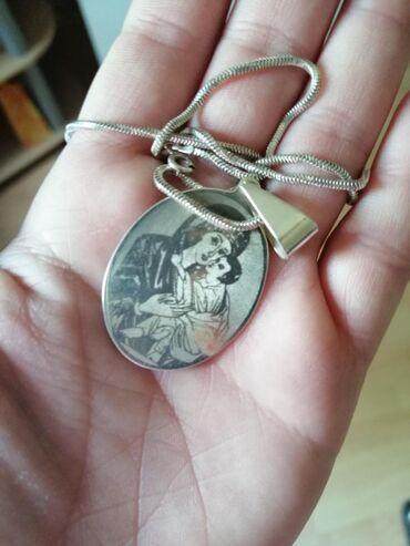 Čisto srebro, 925.Veliki medaljon Bogorodica plus sajla!