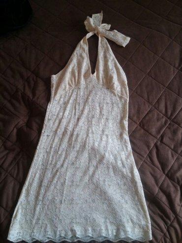 Bež čipkana haljina. Rastegljiva pamucna cipka, velicina M, L. - Nis