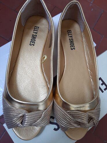 Carape sa prstima - Srbija: Zlatne nenosene sandale cipele 40,sa otvorenim prstima