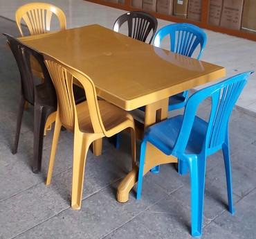 Bakı şəhərində Plastik stol stul desti  6 neferlik, tezedir, ūnvana çatdirilma var,