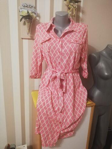 Prelepa haljina standardna bebi roze boja puna elastina do kolena