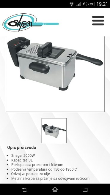 NOVO, Garancija 25 meseci. Friteza fs-600 Snaga 2000w Kapacitet 3l - Belgrade