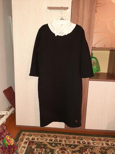 Прямое чёрное платье, произ-во Турция Размер стандарт(до 46, возможно