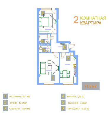 клубные дома в бишкеке в Кыргызстан: Продается квартира: 2 комнаты, 71 кв. м