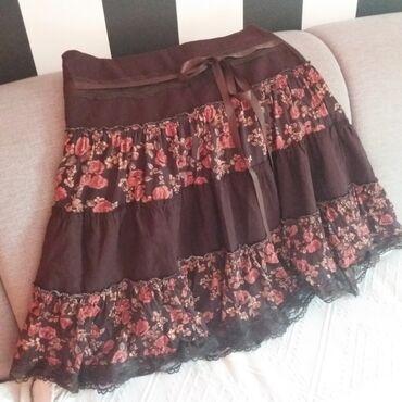 Suknje - Srbija: Polovna suknjica, interesantne kombinacije materijala u braon boji